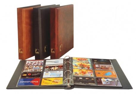 """SAFE 7581-BR Braun Visitenkartenalbum """"Visit"""" Mappe Album mit 5 x 7564 Ergänzungsblättern + schwarzen Zwischenblättern für bis zu 80 Visitenkarten"""
