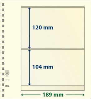 10 x LINDNER 802203P T-Blanko-Blätter Blankoblatt 18-Ring Lochung - 2 Taschen 65 / 164 x 189 mm