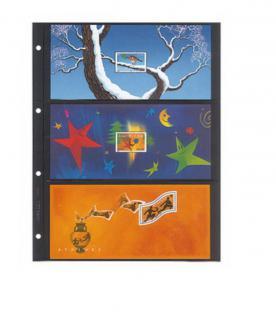 1 x LINDNER 4103 Einsteckhüllen Ergänzungsblätter Publica L A4 3 Taschen / Streifen schwarz 147 x 220 mm Für Banknoten Biefmarken Postkarten Bilder