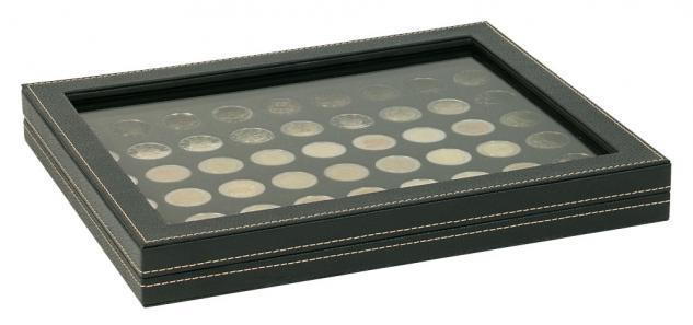 LINDNER 2367-2154CE Nera M PLUS Münzkassetten Standard Einlage Carbo Schwarz mit glasklarem Sichtfenster für 54 x Münzen 25, 75 mm für 2 Euro
