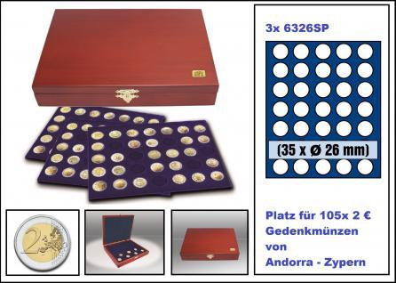 SAFE 5894 Elegance Echtholz Münzkassetten mahagonifarbend 3 Tableaus 6326 - 105 Fächer Für 2 Euro Münzen Gedenkmünzen