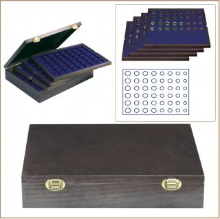 LINDNER 2494-12M CARUS-4 Echtholz Holz Münzkassetten 4 Tableaus blau für 24 komplette Euro Münzen KMS Kursmunzensätze 1 2 5 10 20 50 Cent - 1 2 Euro