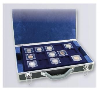SAFE 269 Alu Münzkoffer Diamant 5 Tableaus 75 Fächer 50 x 50 mm Münzrähmchen SAFE quadratische Square Münzkapseln