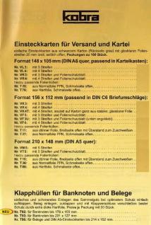1000 x A5 KOBRA VT5 Einsteckkarten Steckkarten Klemmkarten mit 5 Streifen + Schutzfolie für Briefmarken Banknoten - Vorschau 3