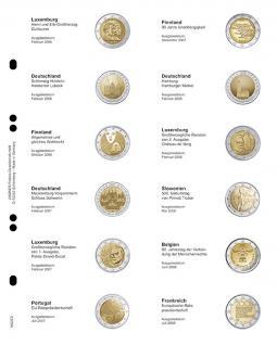 1 x LINDNER MU2E2 Multi Collect Münzhüllen Münzblätter Vordruckblatt 2 Euro Gedenkmünzen Luxemburg Februar 2006 - Frankreich Juli 2008