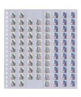 10 x LINDNER 838 Klarsichthüllen 8 senkrechte Streifen 28 x 290 mm Für Rollenmarken