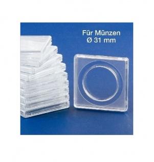 10x SAFE 3131 SAFE Quadratische Münzkapseln Münzdosen Square 50x50 mm glasklar für Münzen bis 31 mm - Ideal für Ideal für 1/2 Half Dollar USA - 1/2 OZ Maple Leafe Gold - 3 Reichsmark Silber - 25 ÖS