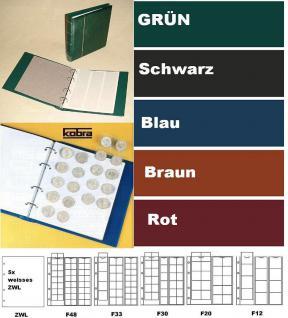 KOBRA FR Grün Münzalbum Album Klassic + 5 Münzblättern Mixed + Zwischenblättern Für 143 Münzen - Vorschau 1