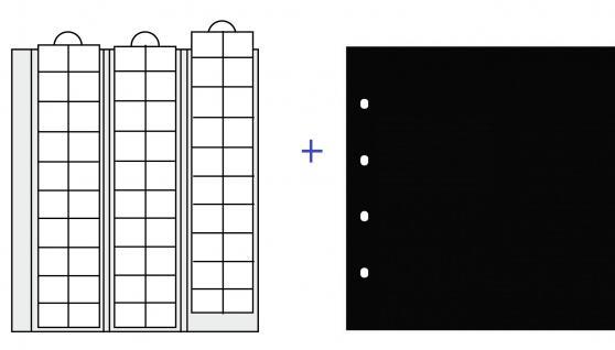 10 x SAFE 7394 Premium Ergänzungsblätter Münzhüllen Münzblätter 60 Fächer Felder x 20 mm + schwarze Zwischenblätter ZWL - Vorschau 1