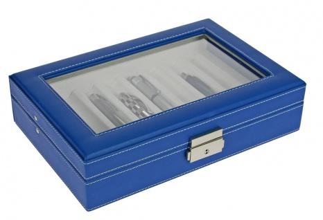 SAFE 73628 Skai Kassette Vitrinen Blau mit Glaseinsatz für 8 Schreibgeräte Kugelschreiber Füller Stifte - Vorschau 3