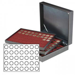 LINDNER 2365-2711E Nera XL Münzkassetten mit 3 Dunkelroten Roten Einlagen 105 Fächer für Münzen bis 32, 50 mm für 10 Euro / DM - 20 Euro Gedenkmünzen