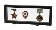 SAFE 4529 SCHWEBERAHMEN NEO FOTORAHMEN BILDERRAHMEN 3D Schwarz 230 x 90 mm / 208 x 67 mm Für Orden - Abzeichen - Pins - Ehrenzeichen - Militaria