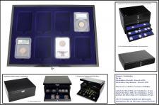 1 x SAFE 5654-2 Schwarze Schubladen doppelt tief 25 mm mit blauer Einlage 8 Fächer 84x63 mm Für 8 original US Slab zertifizierte Münzkapseln - Everslabs - Quickslabs