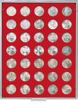 LINDNER 2125 MÜNZBOXEN Münzbox Standard für 35 Münzen 30 mm Ø 3 Reichsmark 1 Unze Meaple Leaf Gold