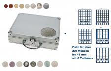 SAFE 235 STANDARD ALU Länder Münzkoffer SMART BR. Deutschland Kursmünzen 1 Pfennig - 5 DM mit 6 Tableaus Mix für über 200 Münzen bis 41 mm