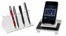 SAFE 73705 + 5274 SET Acryl Design Schreibgeräte Organizer Stiftehalter + Telefon Handy Ständer