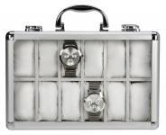 SAFE 265-2 ALU Uhrenkoffer KLASSIK WEISS für 12 Uhren + Uhrenhaltern Damen Herren Armbanduhren Schmuck Antiquitäten