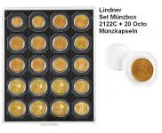 LINDNER Set 2122C Carbo Schwarz Münzbox Münzboxen 20 x 50 mm + 20 OCTO Münzkapseln Freie Auswahl