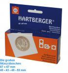 100 HARTBERGER Lindner Münzrähmchen XL 48 mm Selbstklebend 67 x 67 mm 8321048