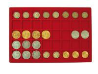 1 x LINDNER 2329-40 Münztableau Einlage 40 Münzen bis 34 mm Rot für 2 Euro in Münzkapseln & 10 Euro DM