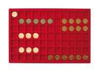 1 x LINDNER 2929-77 Münztableaus / Einlagen 77 Münzen bis 24 mm für 1 DM Euro Kronkorken US Quarter