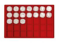 1 LINDNER 2329-35 Münztableau Einlage 35 Münzen bis 39 mm Rot für 10 Euron in Münzkapseln 32, 5 - 33