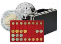 LINDNER 2338-320 MÜNZKOFFER Black Alu Design mit 8 Tableaus 2329-35 Für 320 x Deutsche 10 DM & 10 - 20 Euro Gedenkmünzen