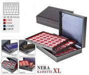 LINDNER 2365-2145ME Nera XL Münzkassetten 3 Einlagen Marine Blau Mixed für 135 x Münzen - 24, 28, 39, 44 mm die Starter Box