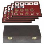 LINDNER 2494-3 CARUS Echtholz Holz Münzkassetten mit 4 Tableaus 80 Fächer 50 x 50 mm Münzrähmchen Octo Quadrum Münzkapseln