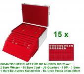 SAFE 273 - 2329-60 ALU Münzkoffer GIGANT 15 MÜNZTABLEAUS für 900 x 2 Euro Münzen - 50 Euro Cent - US Quarters