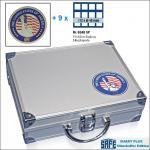 SAFE 230 - 6348 PLUS ALU Münzkoffer SMART USA 9 Tableaus 72 Fächer 48 mm & Münzkapseln 41 - 42 mm für US Silver Eagle Dollar