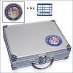 SAFE 230 - 6333 STANDARD ALU Münzkoffer SMART USA 6 Tableaus 144 Fächer 33 mm & Münzkapseln 27 US Sacajawea Presidential Dollars