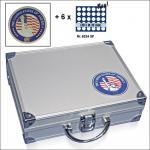 SAFE 230 - 6334 STANDARD ALU Münzkoffer SMART USA 6 Tableaus 180 Fächer 32 mm US Half Dollar & Münzkapseln 26