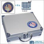 SAFE 230 - 6334 PLUS ALU Münzkoffer SMART USA 9 Tableaus 270 Fächer 32 mm US Half Dollar & Münzkapseln 26