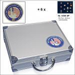 SAFE 230 - 6360 STANDARD ALU Sammkoffer SMART USA 6 Tableaus ohne Einteilung für Pins Button Anstecknadeln Militatia Orden Brosche