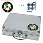 SAFE 232 - 6334 STANDARD ALU Münzkoffer SMART Italien 6 Tableaus 180 Fächer 32 mm 2 Euro Münzen in Münzkapseln 26