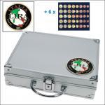 SAFE 232 - 6340 STANDARD ALU Münzkoffer SMART Italien 6 Tableaus 30 komplette EURO Kursmünzensätze KMS 1 Cent - 2 Euro Münzen