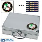 SAFE 232 - 6340 PLUS ALU Münzkoffer SMART Italien 9 Tableaus 45 komplette EURO Kursmünzensätze KMS 1 Cent - 2 Euro Münzen