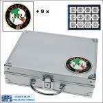 SAFE 232 - 6350 PLUS ALU Münzkoffer SMART Italien 9 Tableaus 108 Fächer 50 x 50 mm Münzrähmchen Quadrum Octo Münzkapseln