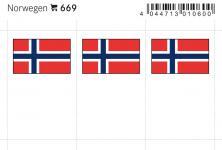 6 x LINDNER 669 Norwegen Flaggensticker Flaggen Signetten Sets zum aufkleben oder einstecken