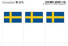 6 x LINDNER 670 Schweden Flaggensticker Flaggen Signetten Sets zum aufkleben oder einstecken