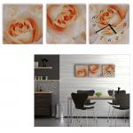 """3 Teilige Leinwandbilder mit Wanduhr aufhänge fertig Kunstdruck """" Die Welt der Rosen - Blumen der Liebe die Rose """" MODERNE KUNSTFOTO Tryptichon Leinwände Keilrahmen Bild Bilder Designer Uhr"""