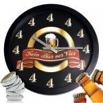 """Kultige Wanduhr Männer Uhr """" Kein Bier vor Vier 4 """" ein muß für jede Bar Kneipe Pub - Das Vatertags Geschenk"""