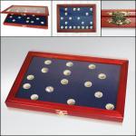 3x SAFE 5848 Echt Holz Münzvitrinen Vitrinen 81 x 5 DM Silbermünzen Kursmünzen Heiermann 1951 - 1974