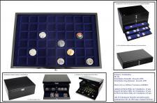 SAFE 5653-1 Schwarze Schubladen mit blauer Einlage 64 Fächer für Kronkorken & Champagnerdeckel