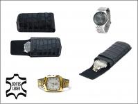 SAFE 281 Carbo - Schwarzes Leder Reiseetui Uhren Etui Reisebox für Armbanduhren Uhrenetui Uhrenbox in Kroko Optik