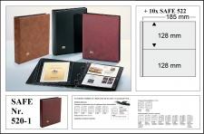 SAFE 520-1 Weinrot - Rot Universal Album Ringbinder + 10 Hüllen - 2 Taschen 185 x 128 mm Für Postkarten Ansichtskarten Banknoten Geldscheine Briefe FDC