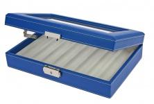 SAFE 73628 Skai Kassette Vitrinen Blau mit Glaseinsatz für 8 Schreibgeräte Kugelschreiber Füller Stifte