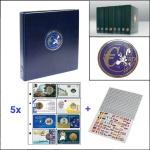 SAFE 7340-10 PREMIUM EUROMÜNZALBUM Münzalbum Blau + 5x 7404 Blätter für 40 Coincards + Flaggenset
