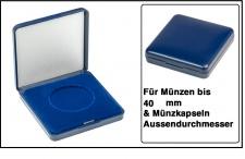 Lindner 2029-040 Blaues Kunststoff Münzetui mit blauer Veloureinlage Für Münzen / Münzkapseln bis 40 mm